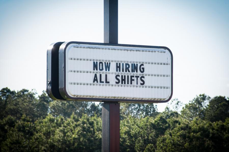 """Road billboard advertising """"Now Hiring All Shifts"""""""