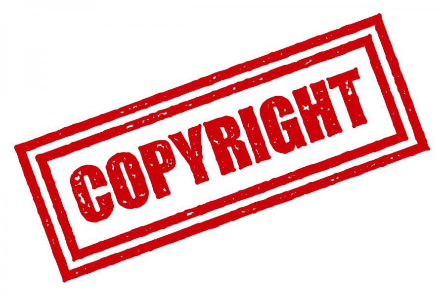 """""""Copyright"""" red rubber stamp."""