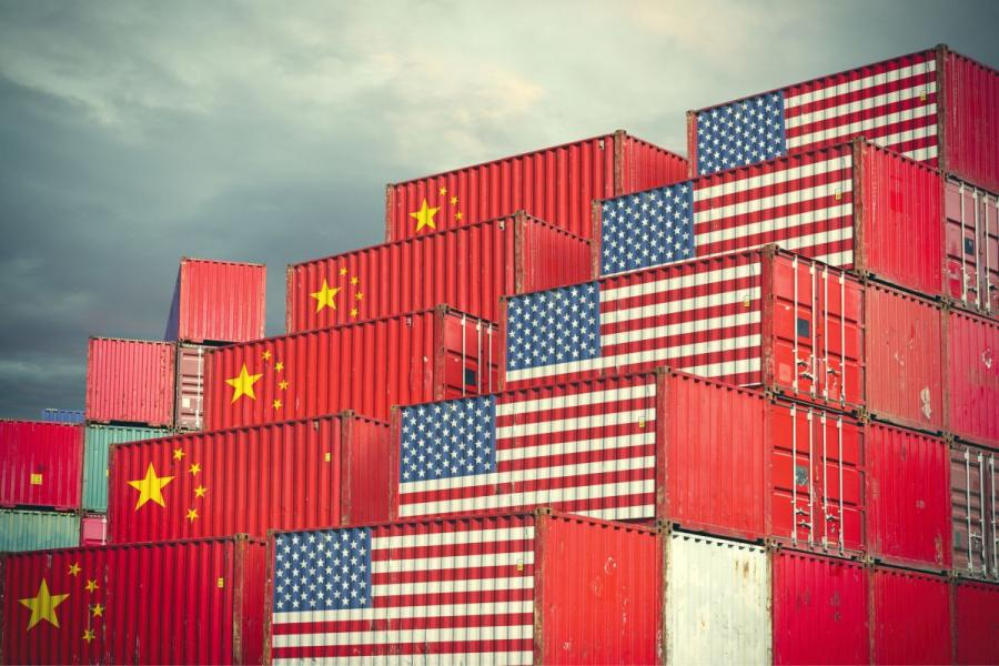 China and U.S. flags superimposed on shipping containers.