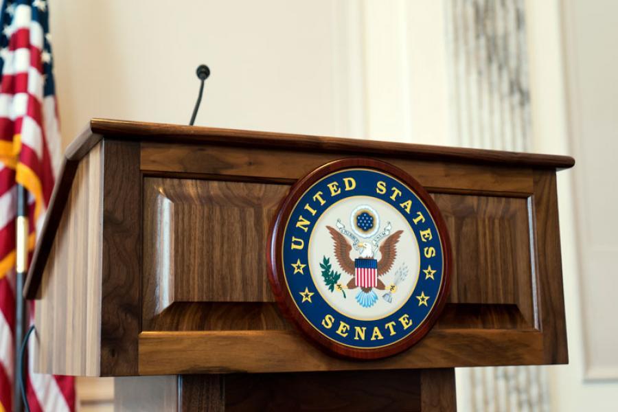 Empty podium with the U.S. Senate seal