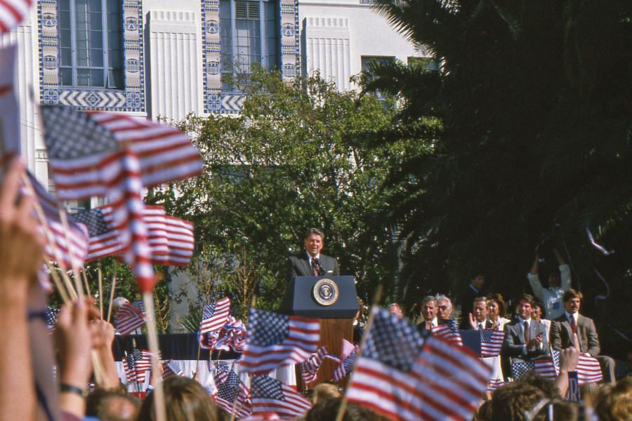 an Diego, CA, USA - October, 22, 1984; President Ronald Reagan giving a speech at a campaign rally at the San Diego County Administration building.