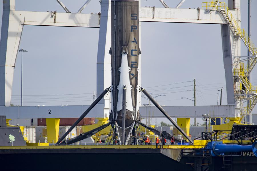 SpaceX SES 10 Rocket Booster arriving to Port Canaveral. Photographer: Tom Cross
