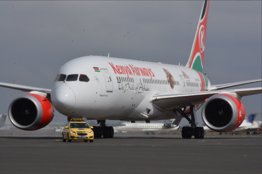 A Kenya Airways 787 Dreamliner lands in Nairobi, Kenya, after completing a non-stop flight from New York City. Photo credit: Kenya Airways.