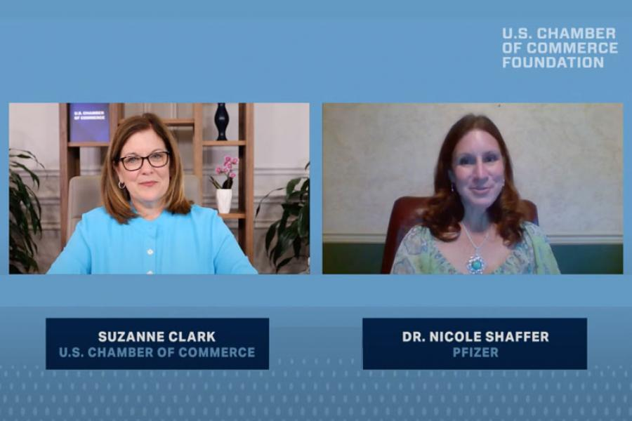 Dr. Nicole Shaffer, Director of Occupational Health and Wellness at Pfizer joins the U.S. Chamber Foundation's Path Forward event