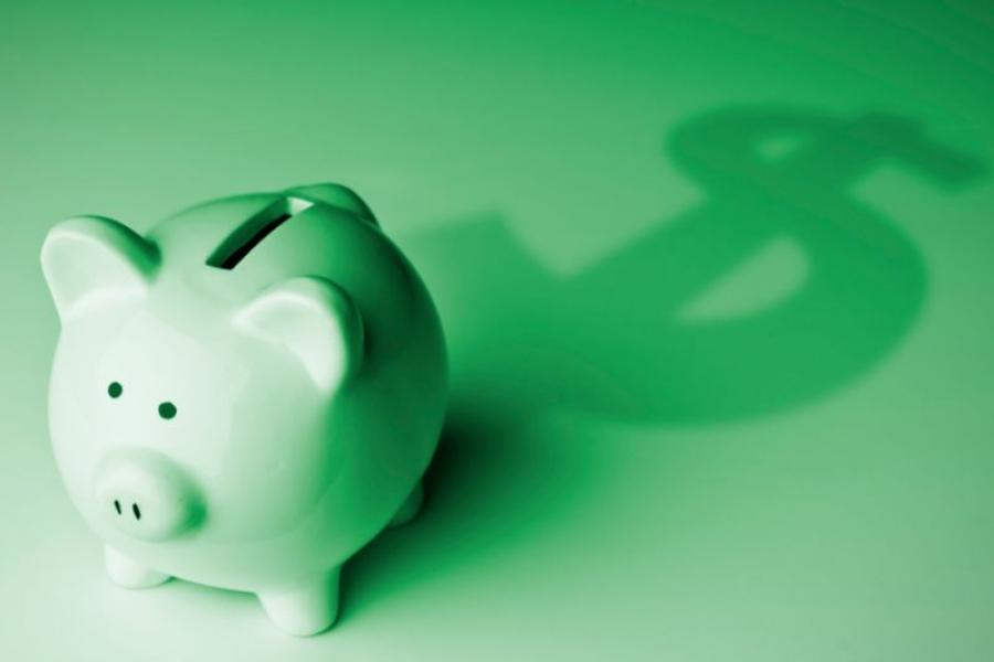 Piggy bank on a green background.