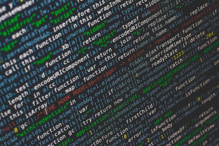 Computer code on a computer screen.