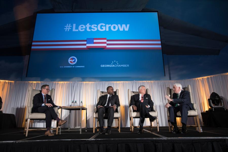 Tom Donohue at the #LetsGrow Atlanta event with Georgia Chamber President and CEO Chris Clark, Atlanta Mayor Kasim Reed, and Georgia Governor Nathan Deal