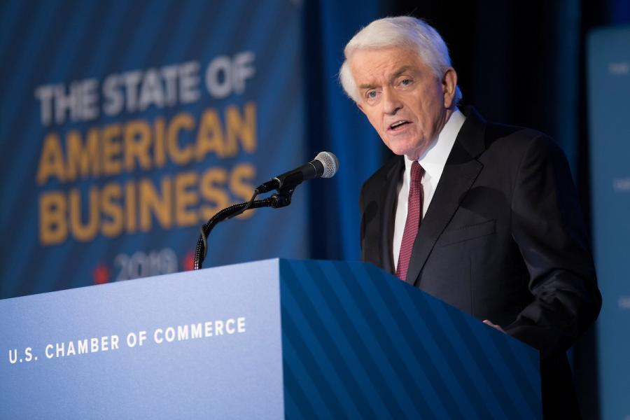 U.S. Chamber President and CEO Tom Donohue delivering the 2019 State of American Business address.