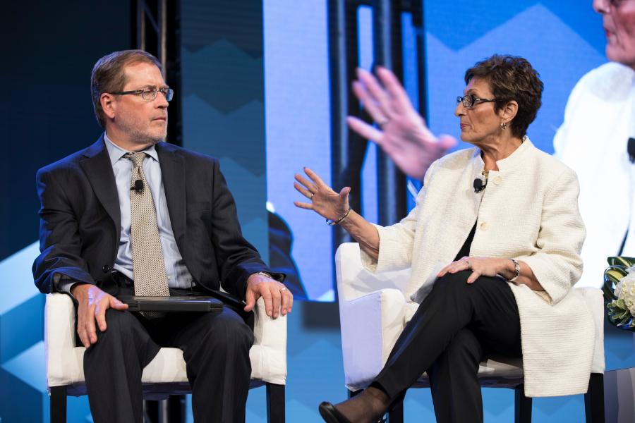 Americans for Tax Reform's Grover Norquist and Maxine Turner, U.S. Chamber Council on Small Business chair.