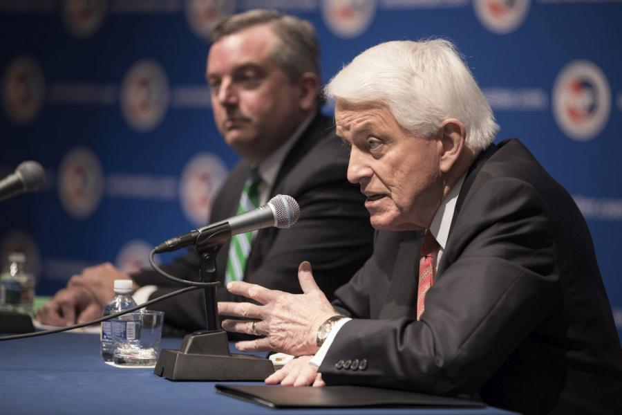 U.S. Chamber President and CEO Tom Donohue (right) and Neil Bradley, executive vice president and chief policy officer, at the 2018 State of American Business press conference.