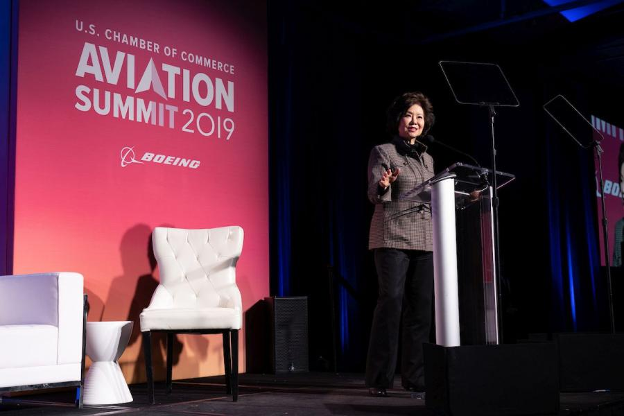 Transportation Secretary Elaine Chao speaks at the U.S. Chamber of Commerce 2019 Aviation Summit.
