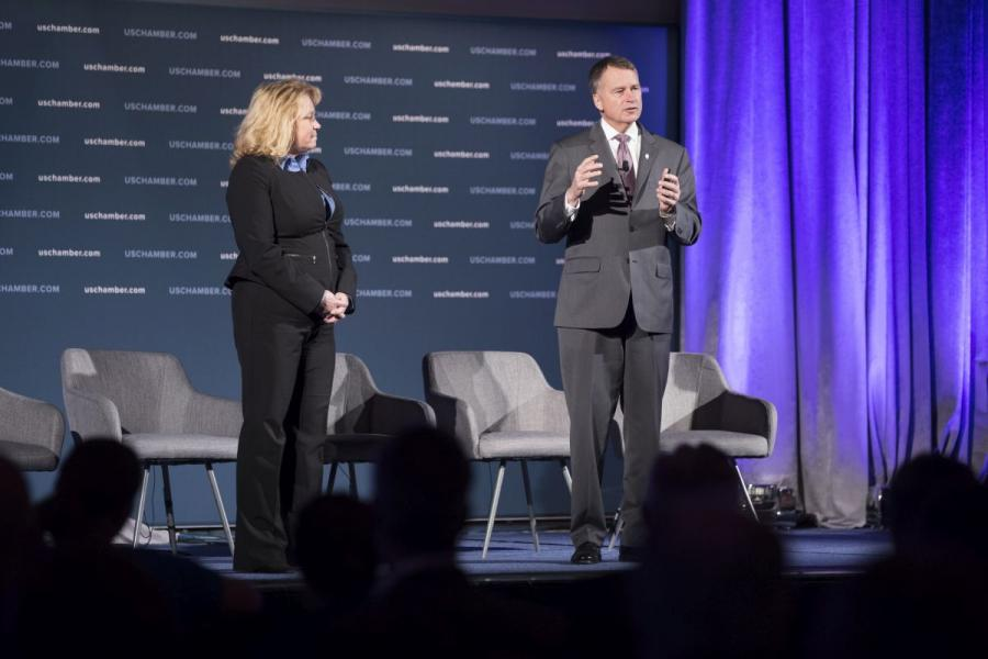 "Mary Winnefeld (left) and Admiral James ""Sandy"" Winnefeld, U.S. Navy (Ret.) speaking at the U.S. Chamber's event, Combating the Opioid Crisis."