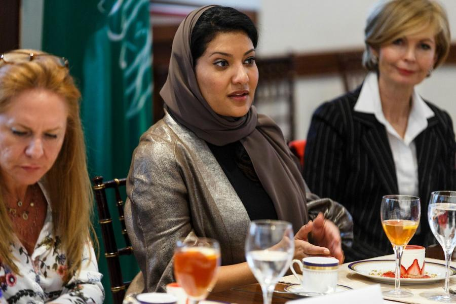 Saudi Princess Reema bint Bandar Al Saud visiting the U.S. Chamber.