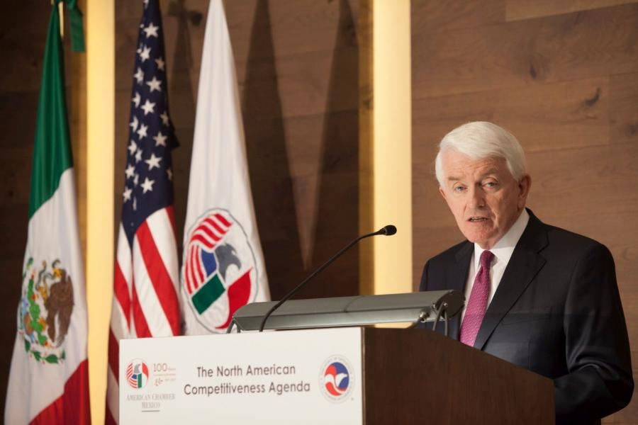 Tom Donohue speaks at the American Chamber of Commerce in Mexico.