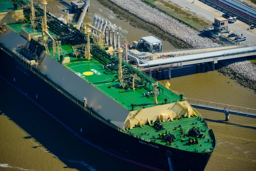 The Asia Vision LNG sits docked at Cheniere Energy's Sabine Pass LNG terminal.