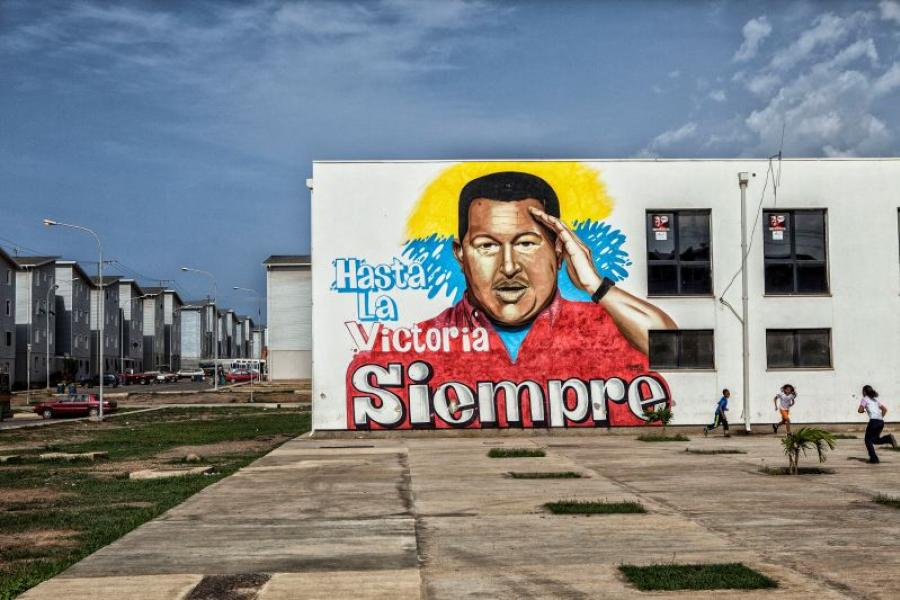 A mural depicting the late Venezuelan president Hugo Chavez on the side of an apartment building in La Guaira, Venezuela.