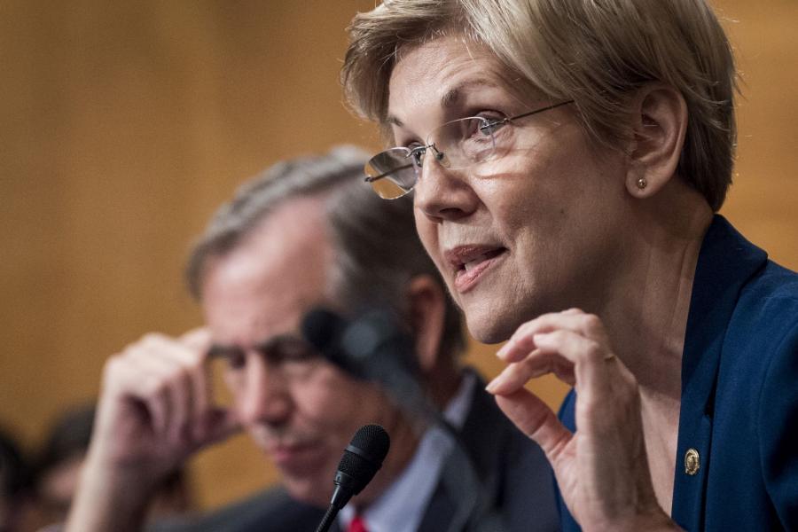 Senator Elizabeth Warren (D-MA) at a Senate Banking Committee hearing.