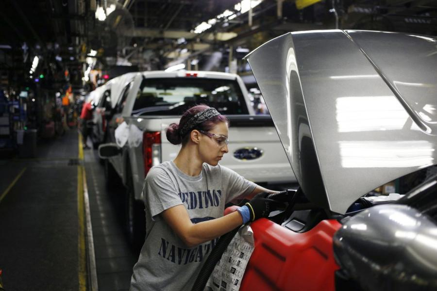 An employee works on the assembly line at the Ford Kentucky Truck Plant in Louisville, KY.