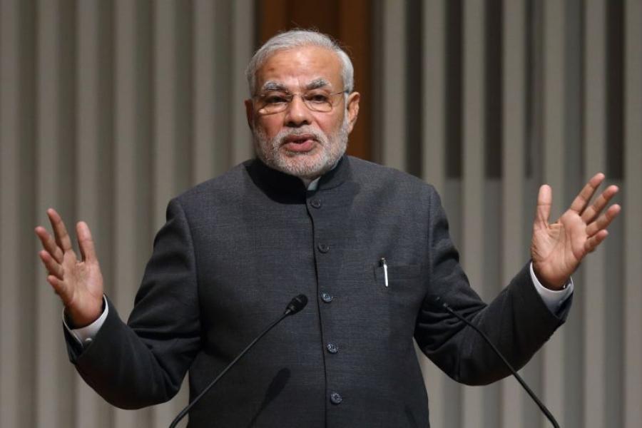 India's Prime Minister Narendra Modi speaking to business leaders in Tokyo, Japan.