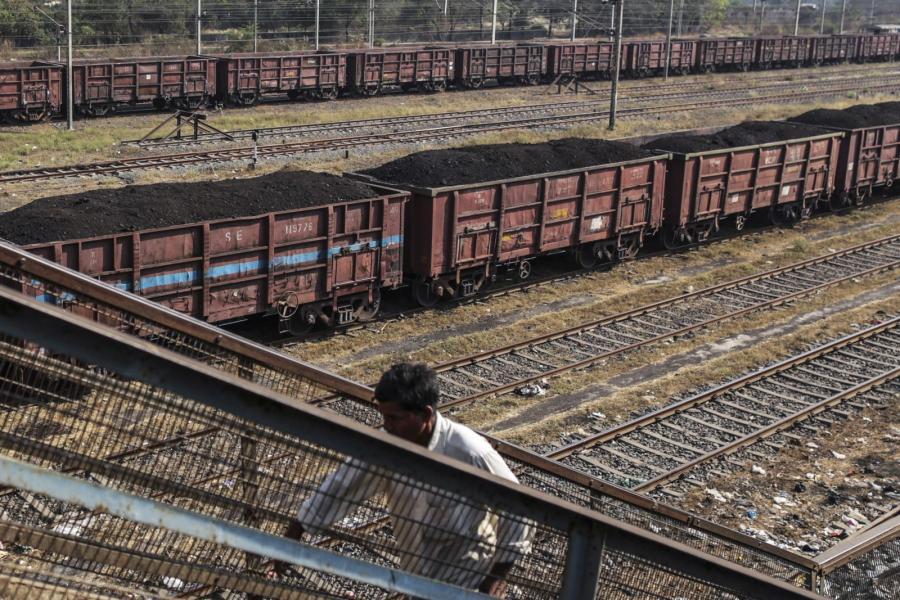 Railcars loaded with coal near Mumbai, India.
