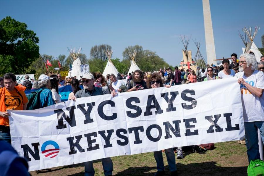 Keystone XL pipeline opponents on the National Mall in Washington, D.C.