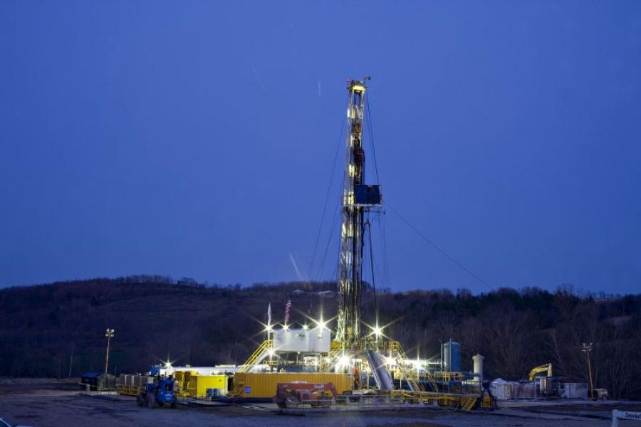 A natural gas drilling rig in Bradford County, Penn.