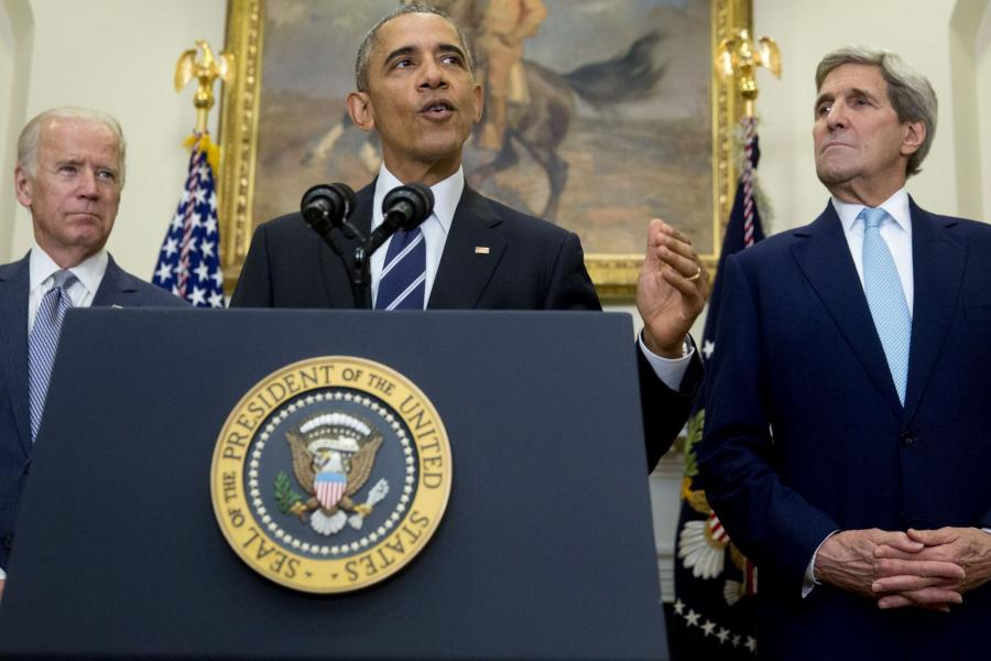 President Barack Obama speaks at the White House with Vice President Joe Biden Secretary of State John Kerry