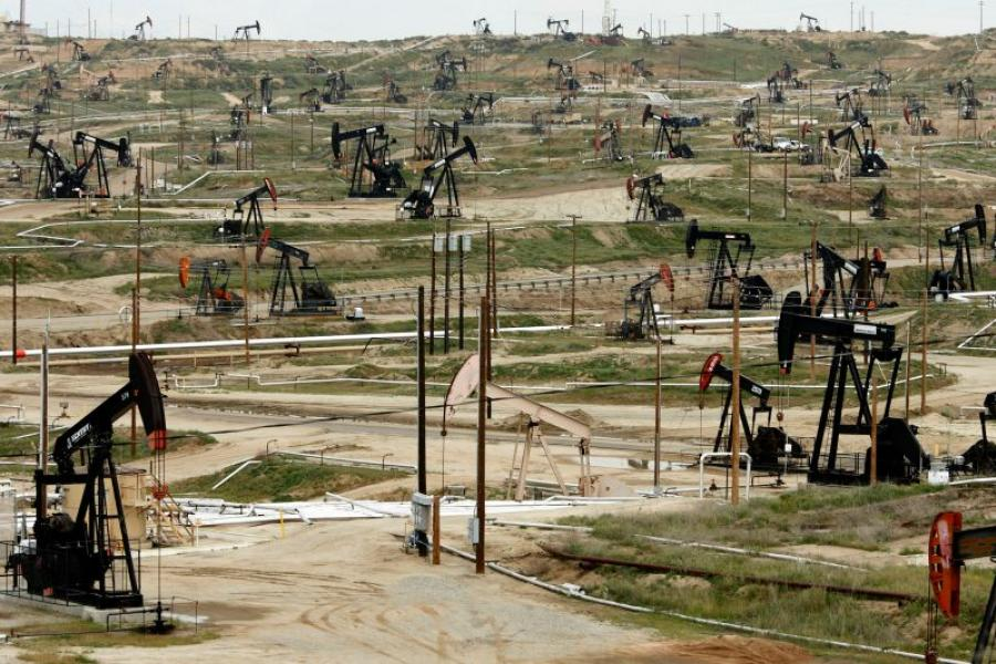 Oil pumps stand at the Chevron Corp. Kern River oil field in Bakersfield, California.