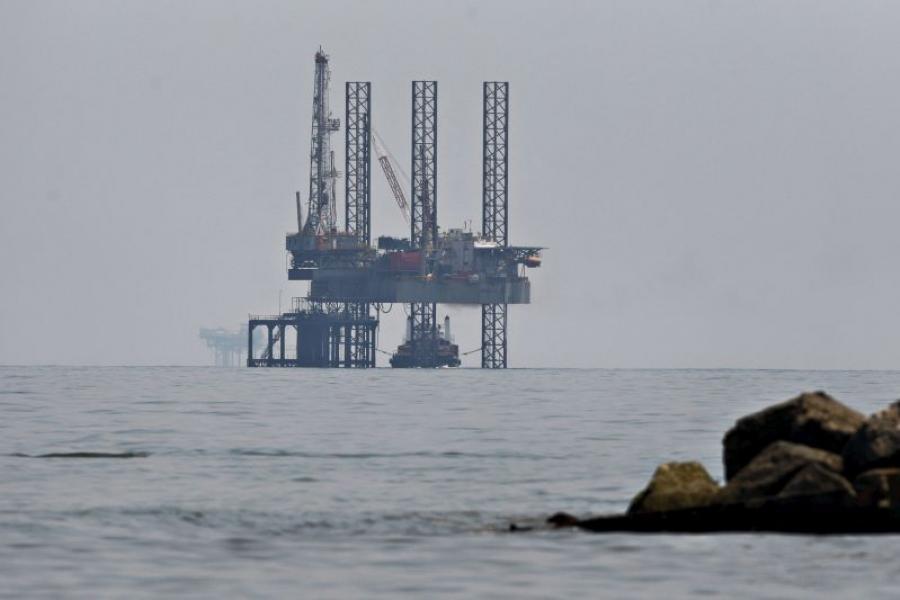 An oil platform off the coast of Port Fourchon, LA.