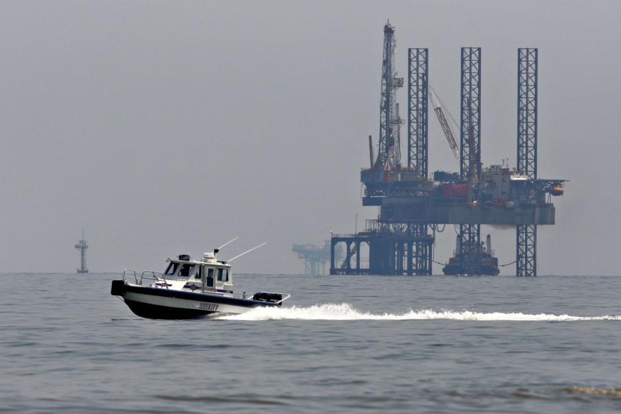 Oil rig off the Louisiana coast.