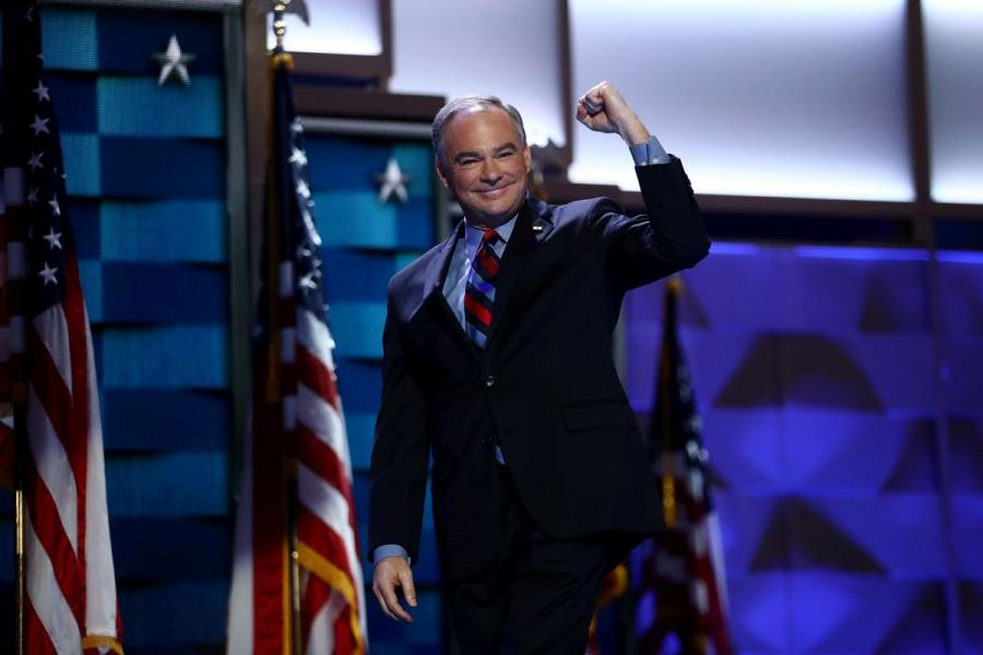 Sen. Tim Kaine on stage at the 2016 Democratic National Convention.