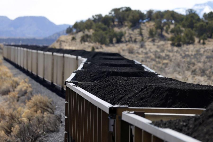 Train cars of coal outside Price, Utah.