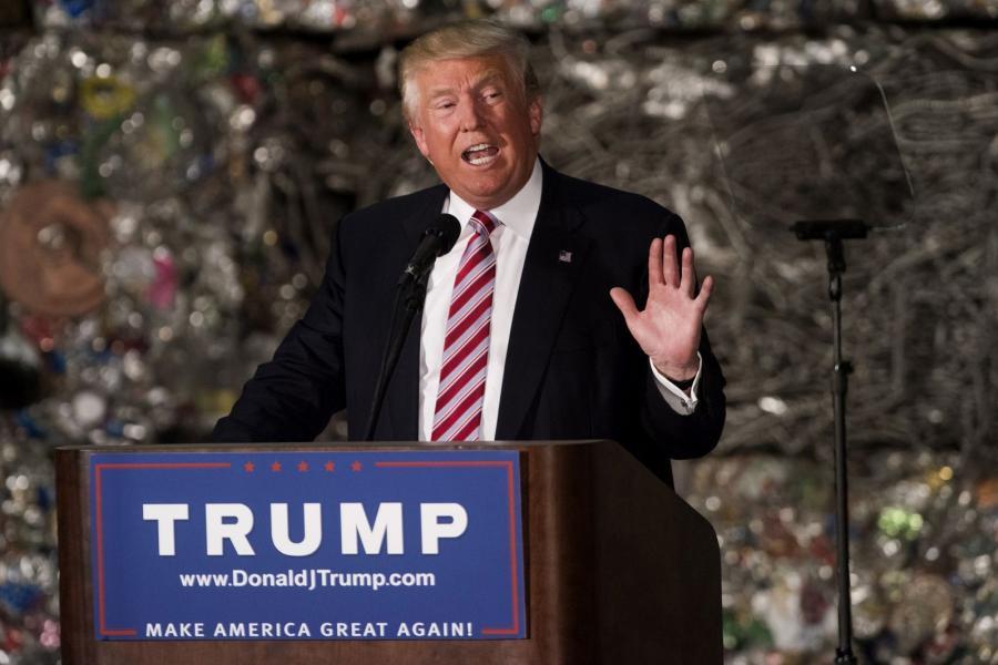 Donald Trump speaking on trade in Monessen, Pennsylvania.