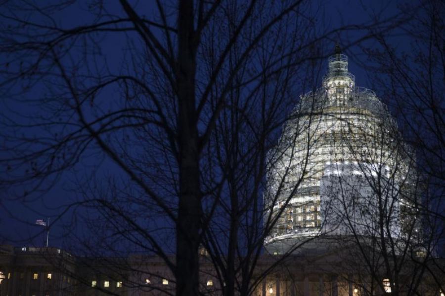 U.S. Capitol dome at night.