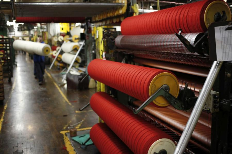 Spools of red dyed wool yarn at the Woolrich woolen mill in Woolrich, PA.