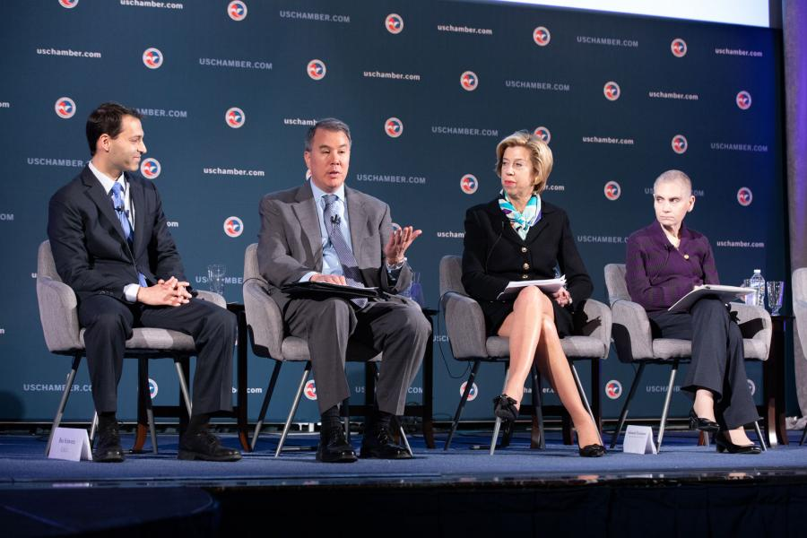 Ben Schwartz (Left) moderates a panel discussion with the Honorable John Rood, Undersecretary of Defense for Policy; Honorable Ellen Lord, Undersecretary of Defense for Acquisition and Sustainment; and Ambassador Tina Kaidanow, Deputy Assistant Secretary