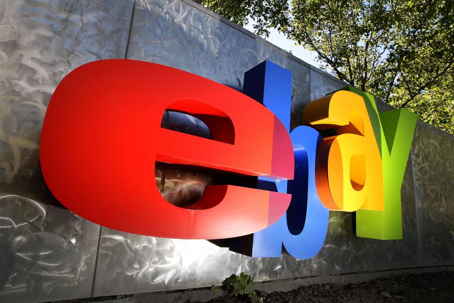 eBay sign at company headquarters.