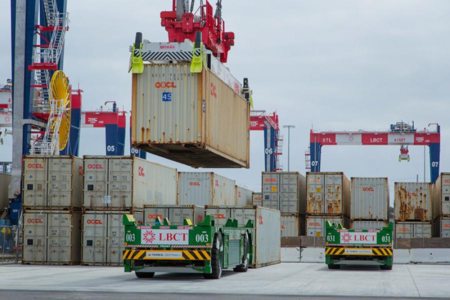 Containers are loaded onto automated guided vehicles at Long Beach Container Terminal in Middle Harbor
