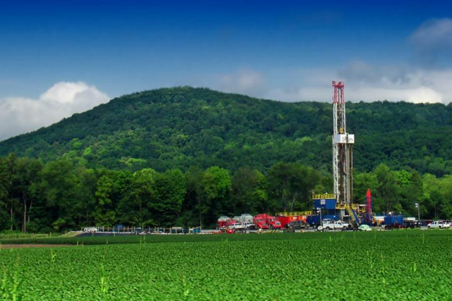 Gas-drilling site on top of the Marcellus Shale in Lycoming County, PA.