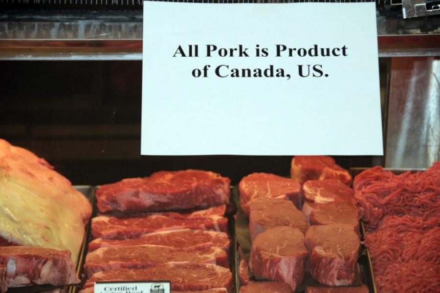 An example of a Country of Origin label (COOL) label on pork.