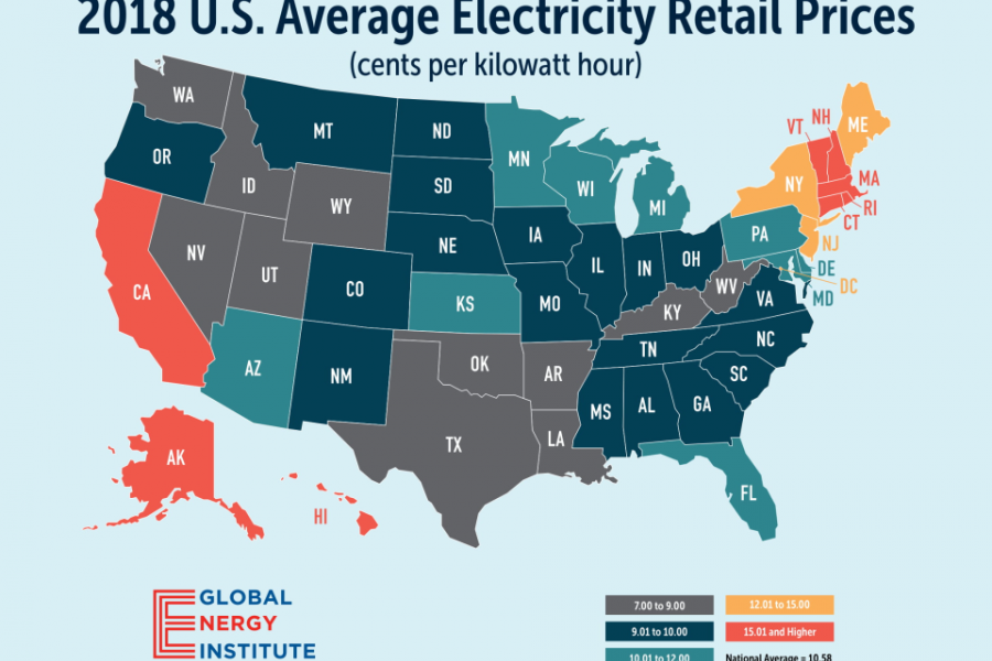 Global Energy Institute map of 2018 U.S. Average Electricity Retail Prices.