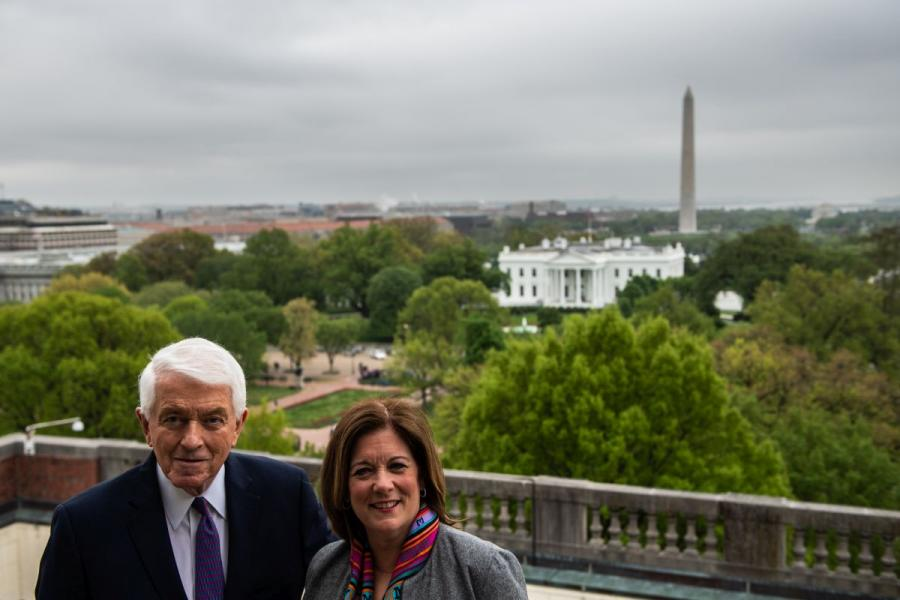 U.S. Chamber President and CEO Tom Donohue (left) and Senior Executive Vice President Suzanne Clark on the roof top of the U.S. Chamber of Commerce.