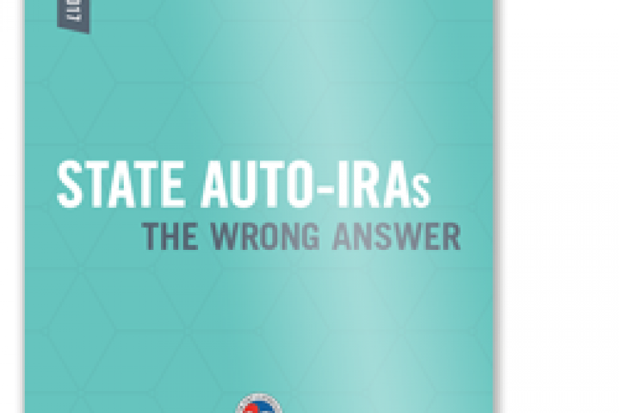 Cover image of the CCMC Report: State Auto-IRAs: The Wrong Answer