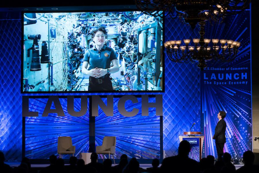Astronaut Christina Koch filmed a Space Summit welcome video aboard the International Space Station (ISS) laboratory