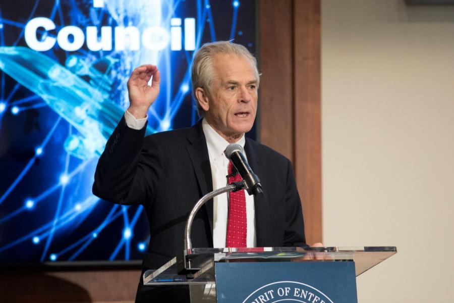 Peter Navarro addresses members of the U.S. Chamber of Commerce on the recently released Defense Industrial Base report.