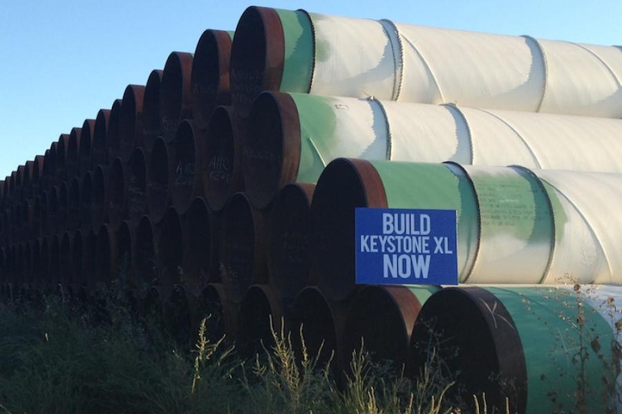 Steel pipe for the Keystone XL pipeline piled near Gascoyne, North Dakota.
