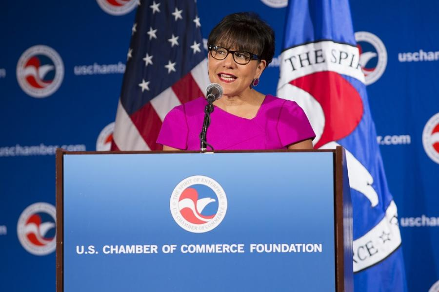 Commerce Secretary Penny Pritzker appears at the U.S. Chamber's Global Supply Chain Summit on May 12, 2015.