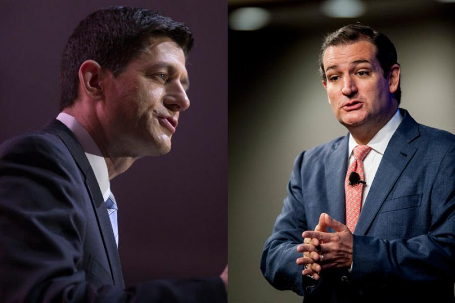 Rep. Paul Ryan (left) and Senator Ted Cruz.