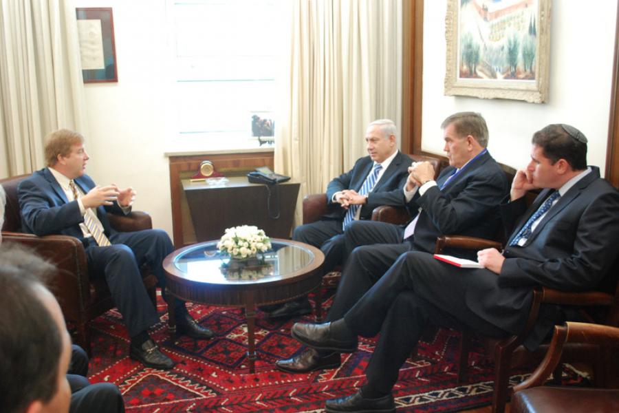 U.S. Chamber of Commerce Executive Vice President Myron Brilliant with Israeli Prime Minister Benjamin Netanyahu and Israeli Ambassador to the U.S. Ron Dermer