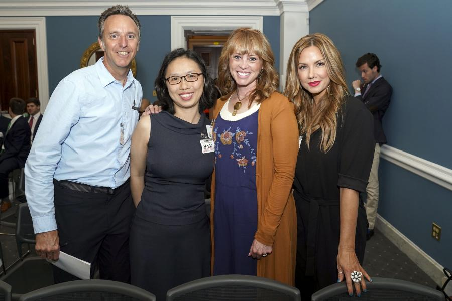 Ryan McFarland of Strider Sports International, Inc., Wei-Shin Lai of SleepPhones, Angie White of Beddy's, and Betsy Mikesell of Beddy's.